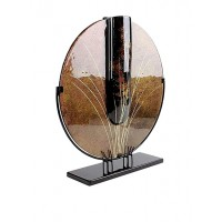 Jasmine Glass Art Round Vase with Metal Stand, Brown/Black/Gold