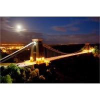 Clifton Suspension Bridge at full moon, 4358