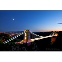 Clifton Suspension Bridge with moon, 6409