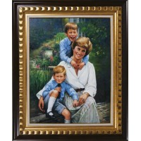 Princess Diana, Prince William and Prince Harry by Wate