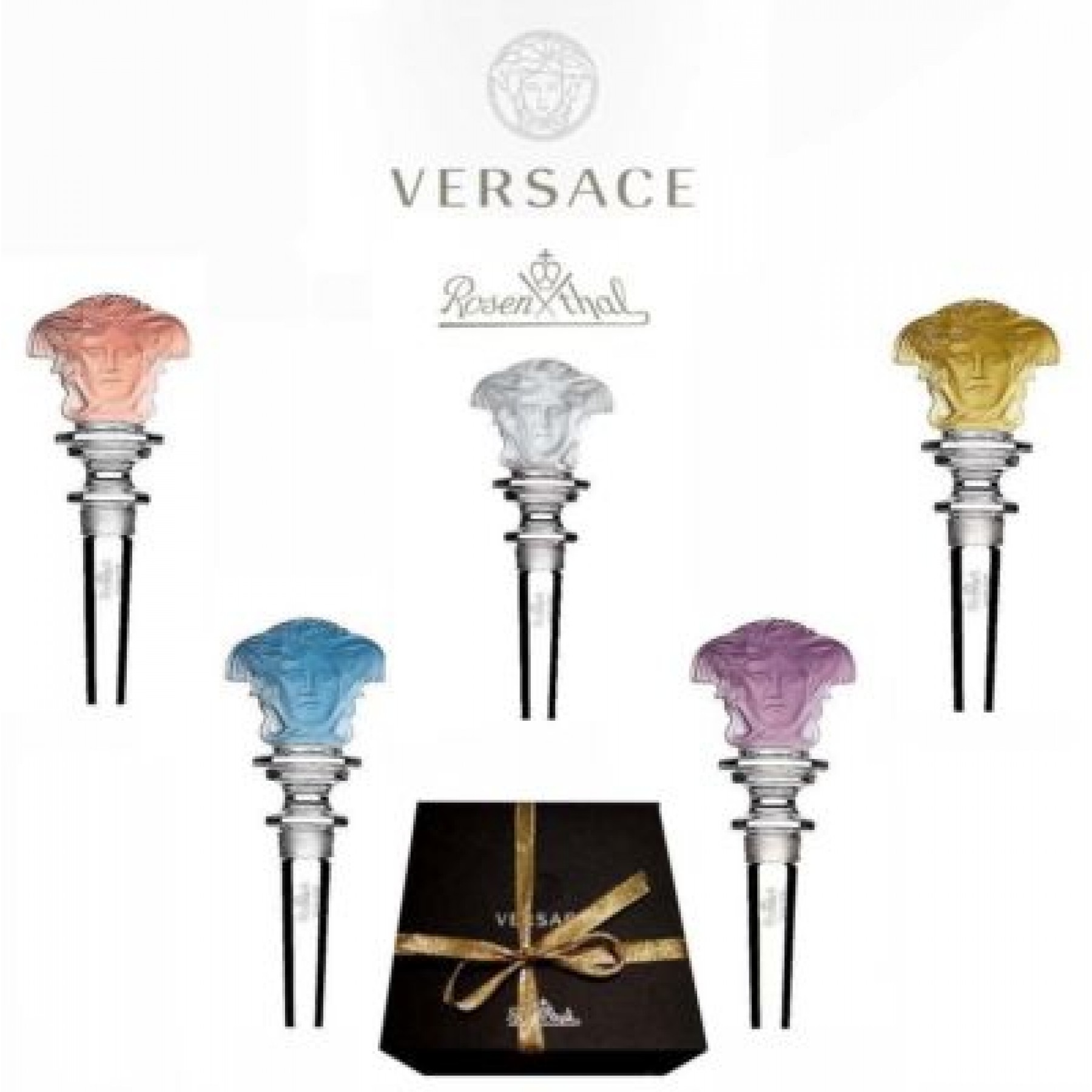 93c8127b3ad ROSENTHAL CRYSTAL BOTTLE STOPPER BY GIANNI VERSACE (White Iridescent  Lumiere)