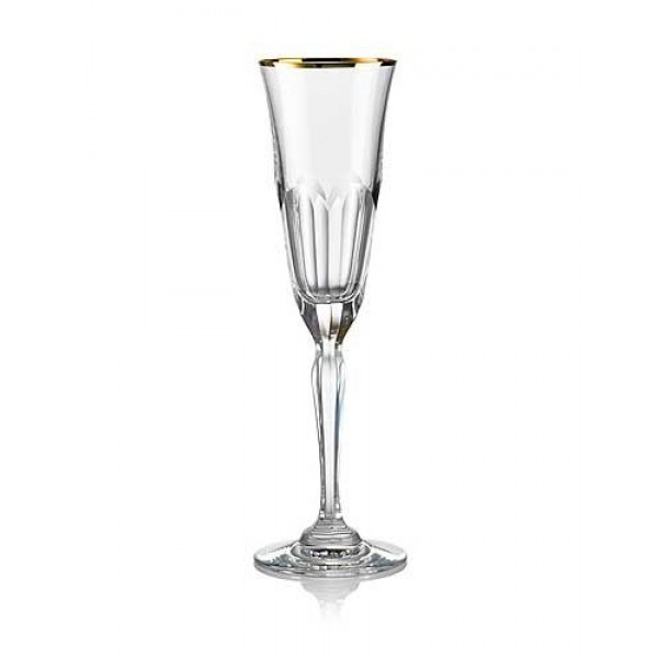 Rogaska 1665 Aulide Gold Crystal Champagne Flute Pair Set of 2