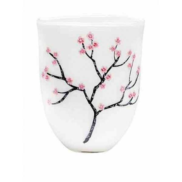 Hand painted, Mouth blown glass cherry blossom classic vase.