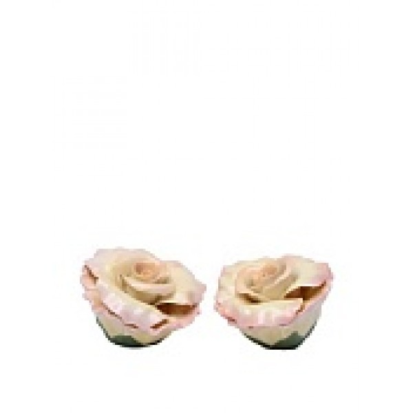 Handmade Porcelain Peace Rose salt and pepper shaker set, Pink.