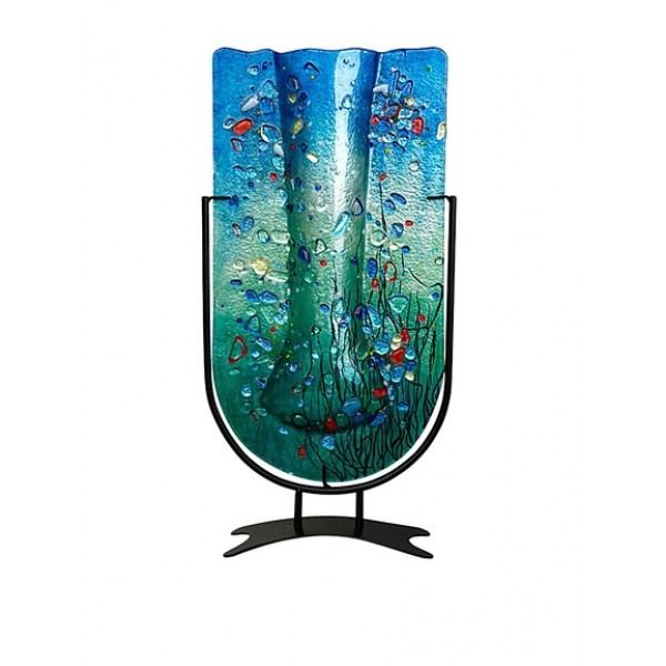 Jasmine U Vase with Metal Stand, Blue/Turquoise (Handmade and Hand Painted) - ONE SOLD