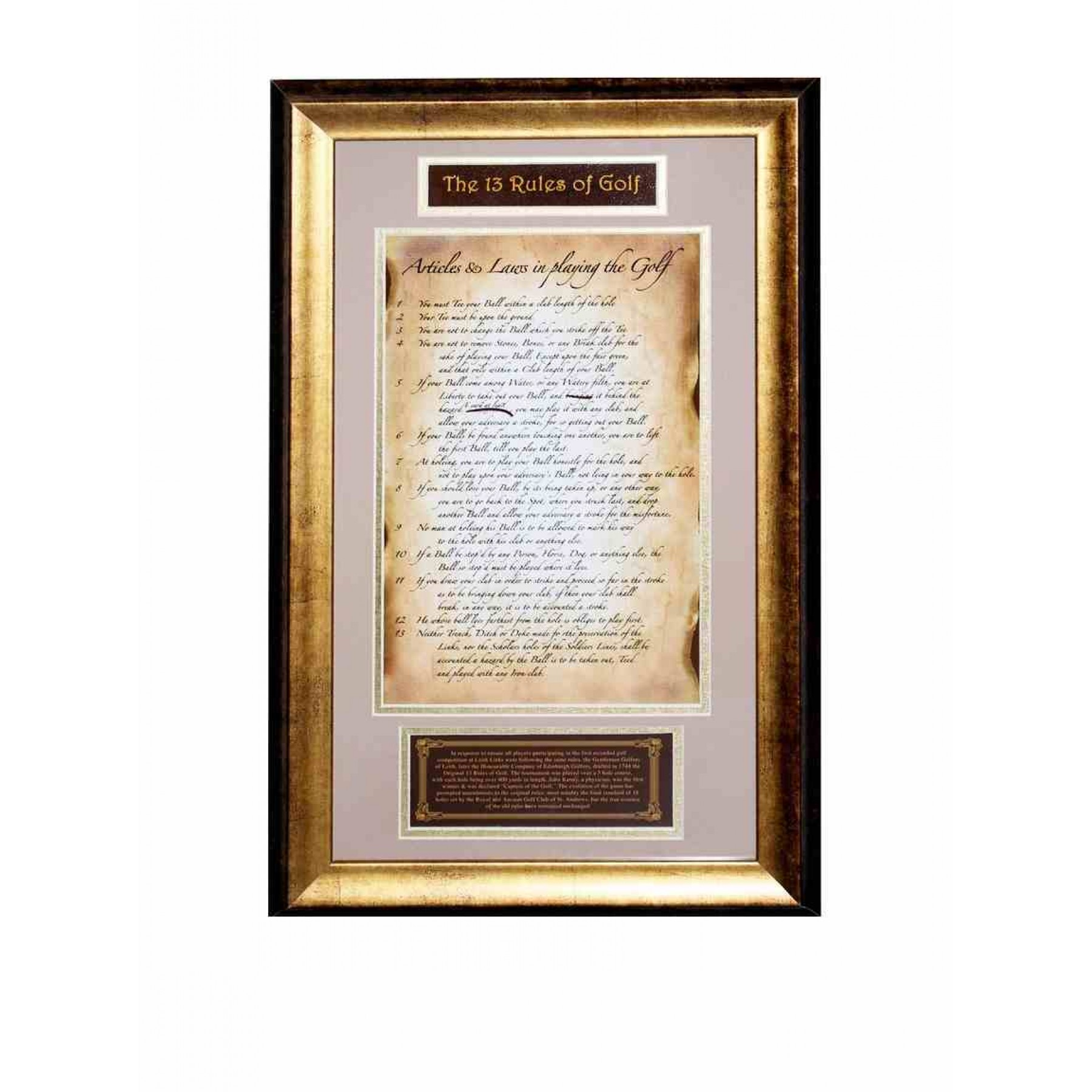 The original 13 rules of Golf, Framed by Steiner Sports Memorabilia ...