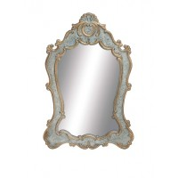 Antique Blue Curved Wall Mirror with Gold-Tone Accents (SOLD)