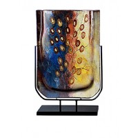 Jasmine Art Rectangular Vase with Metal Stand, Blue/yellow/red