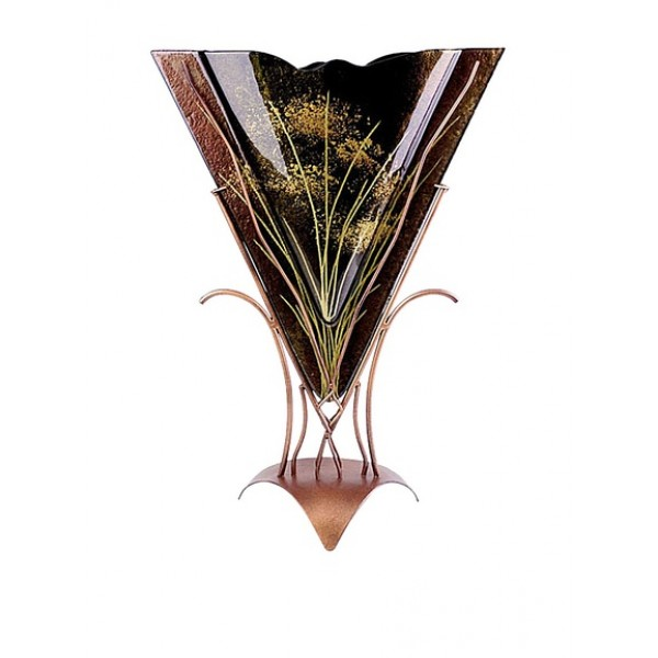 Jasmine Art Triangular Vase with Metal Stand, Brown/Black/Gold