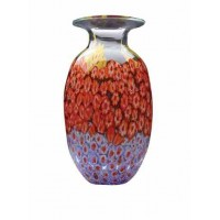 Dynasty handmade and mouthblown Millefiori glass vase, clear (NOW SOLD)