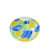 La Meridian Hand blown round watercolour vase, aqua/yellow/lime