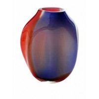 La Meridian Glass short abstract hand blown vase, cobalt/orange (SOLD)