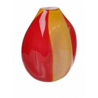 La Meridian Red/Amber short abstract hand blown glass vase with accents/SOLD
