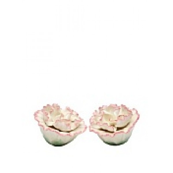 Handmade Porcelain Carnation salt and pepper shaker set, white and pink