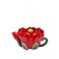 Handmade Ceramic red poppy teapot