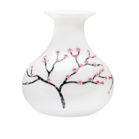 Hand painted, Mouth blown glass cherry blossom vase with flat base